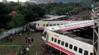 An overturned train is seen in Yilan County, Taiwan