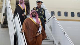 Saudi Arabia's Crown Prince Mohammed bin Salman arrives at Ministro Pistarini in Buenos Aires, Argentina, November 28, 2018