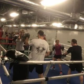 Boxing training below deck on HMS Queen Elizabeth