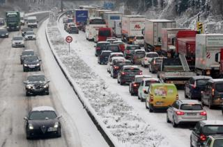 Traffic jam near Mülheim, western Germany, 11 Dec 17