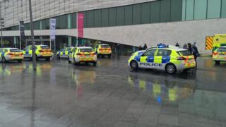 police cars outside the museum