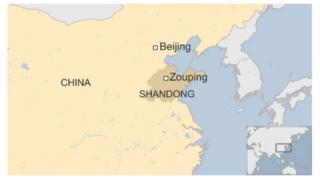 Map of Zouping, Shandong in China