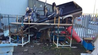 Crash scene in Shaw Road, Dudley