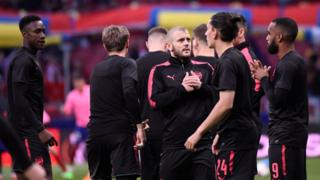 Arsenal players at the UEFA Europa League semi-final second leg football match between Club Atletico de Madrid and Arsenal FC.