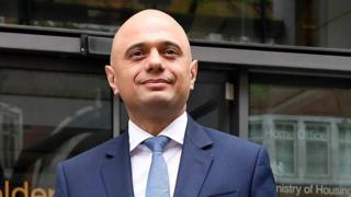 Sajid Javid outside the Home Office