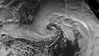 Satellite image released by Met Office showing Storm Gertrude passing north of Shetland