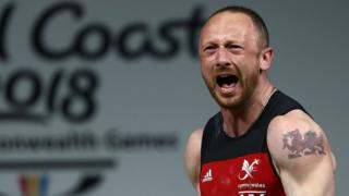 Weightlifter Gareth Evans celebrating