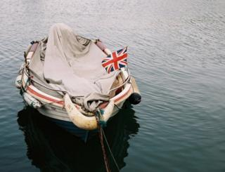 Boat with a Union flag