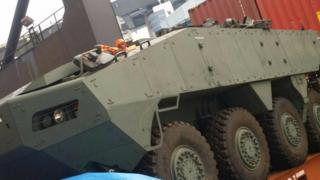 One of the armoured vehicles spotted in the ship