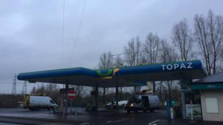 The petrol station and power cables affected