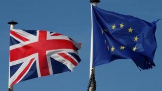 英国国旗与欧盟旗