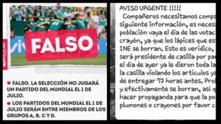 """Imagem à esquerda mostra uma etiqueta de """"falso"""" e avisa que a seleção do México não jogará no dia das eleições presidenciais do país; imagem à direita mostra uma mensagem de WhatsApp com um """"aviso urgente"""" de que os lápis usados na votação podem ser fraudados"""