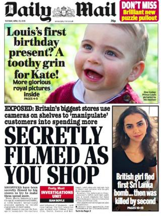 The front page of the Daily Mail