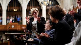 Liberal MP Mauril Belanger receives standing ovation after voting on his private member's bill to change the national anthem. 15 June 2016.