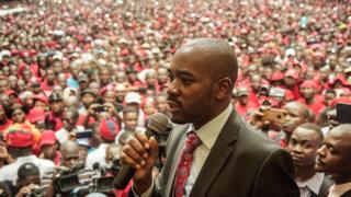 Nelson Chamisa addressing supporters in Zimbabwe