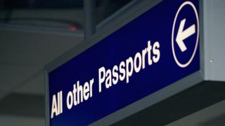 UK Border & Passport control signs at Edinburgh Airport