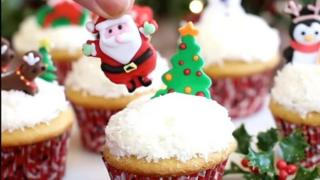 A picture from the video showing the snow globe cupcakes