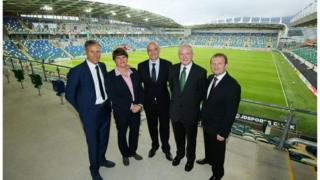 Marco van Basten, Arlene Foster, Fifa president Gianni Infantino, Martin McGuinness and IFA president David Martin attend the official opening of the new stadium at Windsor Park ahead of the Northern Ireland match