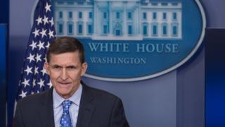 Michael Flynn speaking at a press briefing at the White House