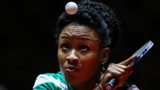 Olufunke Oshonaike of Nigeria competes during Women Single 1. Round at Table Tennis World Championship at Messe Duesseldorf on May 31, 2017 in Dusseldorf, Germany.