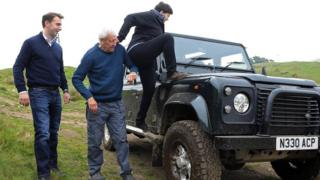 Ruth Davidson poses on Land Rover