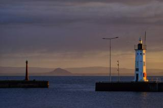 Anstruther Harbour with Berwick Law behind, at sunset on Tuesday night.