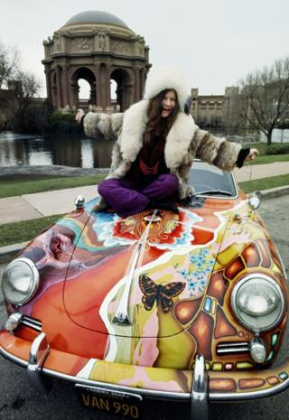Janis Joplin on her psychedelic Porsche in front of Palace of Fine Arts, San Francisco, 1968