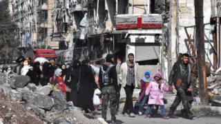 в восточном Алеппо