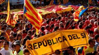 Manifestación y bandera