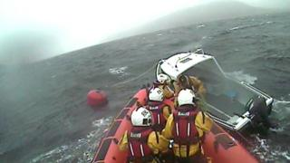 Kyle of Lochalsh RNLI on a call-out in rough weather