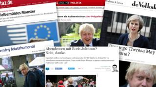 Composite of European front pages