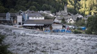 View of a landslide and the village Bondo in Graubünden in south-east Switzerland, 24 August 2017
