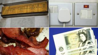 (Clockwise from top left) Foreign Office sign, plug, pound notes, bacon