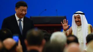 Kuveyt Emiri Şeyh Sabah El-Ahmed El-Caber El-Sabah ve Çin lideri Şi Jinping