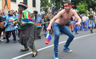 Fans dance during the Rugby World Cup 2019 Champions Tour in Cape Town, South Africa - November 2019