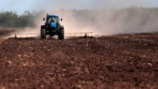 A field is sown in Dique Chico, Cordoba province, Argentina, on January 21, 2018.