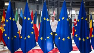 Theresa May with flags