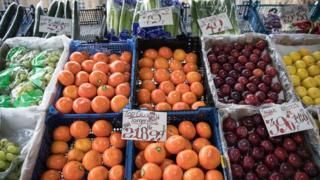 Fruit priced in a market