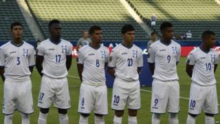 Honduras players before match against Haiti, 3 Oct 2015