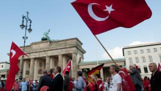 Demonstration against the Armenia Resolution passes the Brandenburg Gate in Berlin