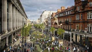 visualisation of what Oxford Street in London could look like after the western section has been pedestrianised