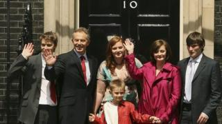 Tony Blair and family on his final day as PM