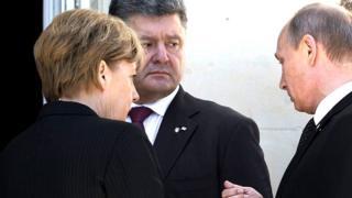Порошенко, Путін та Меркель