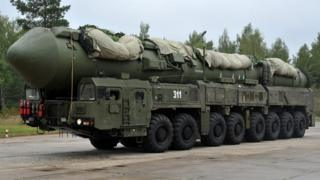 A Russian RS-24 Yars thermonuclear intercontinental ballistic missile launcher rolls at a strategic missile forces base near the town of Teykovo, some 200 km northeast of Moscow (file pic 2011)