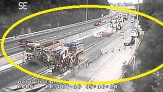 CCTV image of resurfacing work on motorway after lorry crash