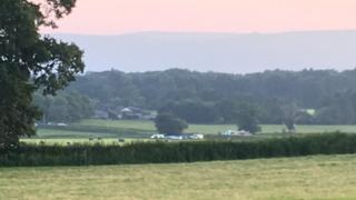 Aircraft incident scene in fields near Raglan, Monmouthshire