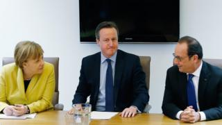 Germany's Chancellor Angela Merkel, Britain's Prime Minister David Cameron and France's President Francois Hollande in Brussels, 18 Mar 16