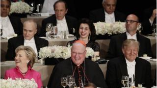 Hillary Clinton with Cardinal Tim Dolan and Donald Trump - 20 October 2016
