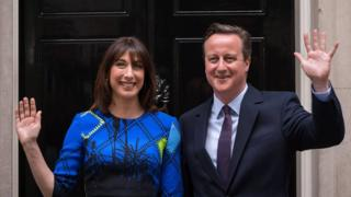 David and Samantha Cameron on 8 May 2015