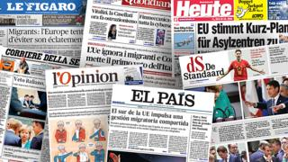 Front pages of European newspapers reporting on migration summit